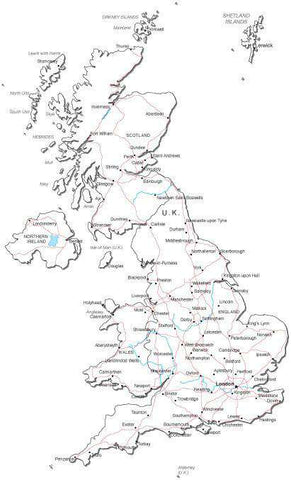 United Kingdom Black & White Map with Capital, Major Cities, Roads, and Water Features