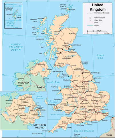 Digital United Kingdom map in Adobe Illustrator vector format