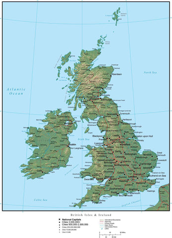 United Kingdom Region Terrain map in Adobe Illustrator vector format with Photoshop terrain image GBR-XX-952827