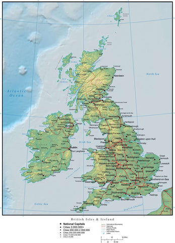 Digital United Kingdom Terrain map in Adobe Illustrator vector format with Terrain GBR-XX-955096