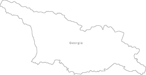 Digital Black & White Georgia map in Adobe Illustrator EPS vector format