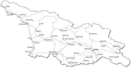 Map Of Georgia With Capital.Georgia Black White Map With Capital Major Cities Roads And Water Features
