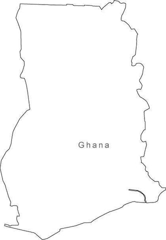 Digital Black & White Ghana map in Adobe Illustrator EPS vector format