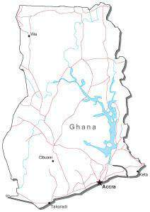 Ghana Black & White Map with Capital, Major Cities, Roads, and Water Features