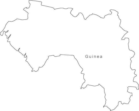 Digital Black & White Guinea map in Adobe Illustrator EPS vector format