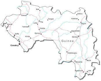 Guinea Black & White Map with Capital, Major Cities, Roads, and Water Features