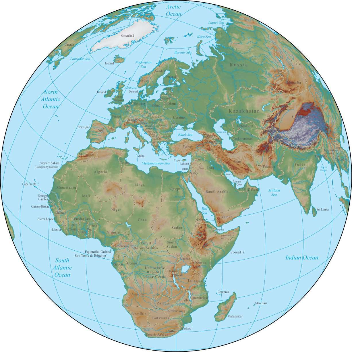 Map Of Africa Land Features.Globe Over Africa Terrain Map In Adobe Illustrator Vector Format