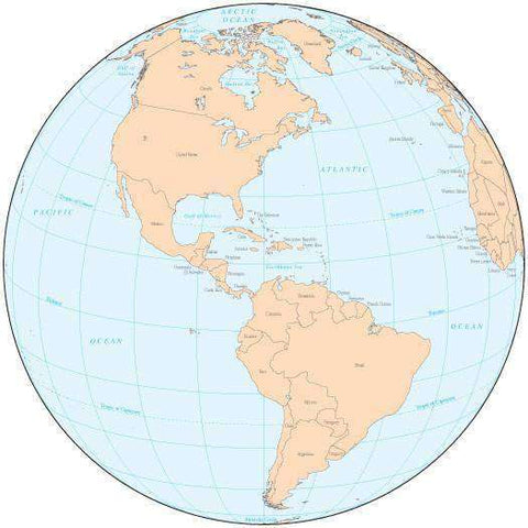 Single Color Globe over the Americas Map with Countries