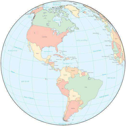 Multi Color Globe over the Americas Map with Countries
