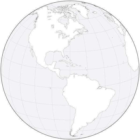Globe over the Americas Black & White Blank Outline Map