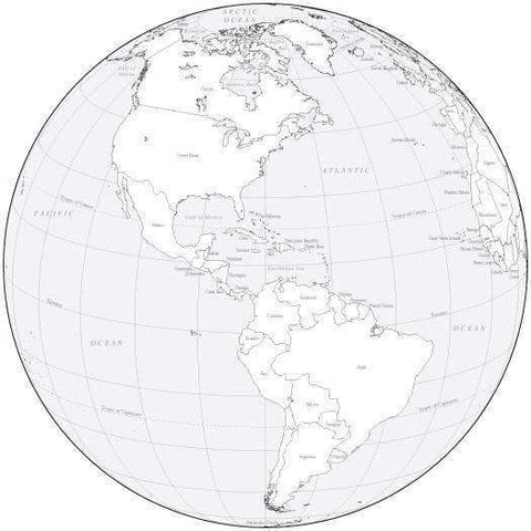 Black & White Globe over the Americas Map with Countries