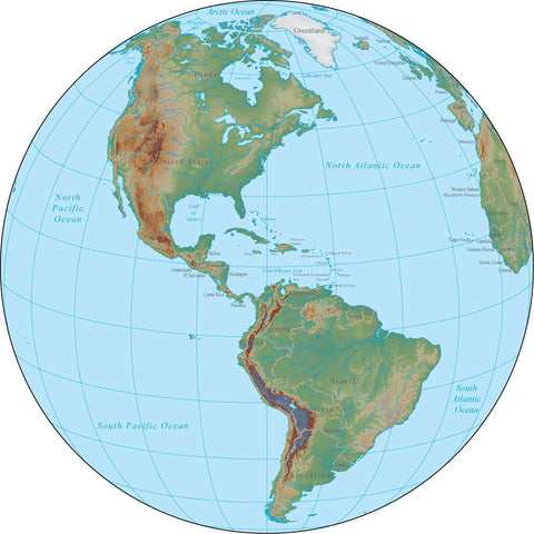 Americas Globe Terrain map in Adobe Illustrator vector format with Photoshop terrain image GL-AMR-952864