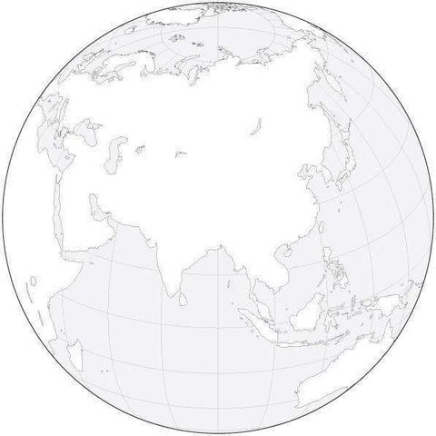 Globe over Asia Black & White Blank Outline Map