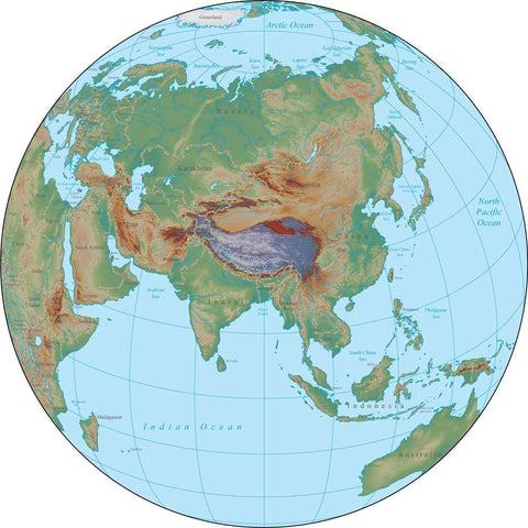 Globe over Asia Terrain map in Adobe Illustrator vector format with Photoshop terrain image GL-ASI-952818