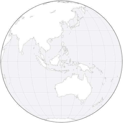 Globe over Australia Black & White Blank Outline Map