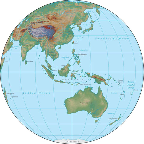 Globe over Australia Terrain map in Adobe Illustrator vector format with Photoshop terrain image GL-AUS-952852