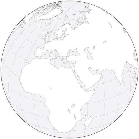 Globe over Africa & Europe Black & White Blank Outline Map