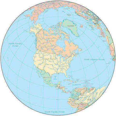 Globe over North America Map with Countries and Water Features