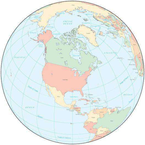 Multi Color Globe over North America Map with Countries