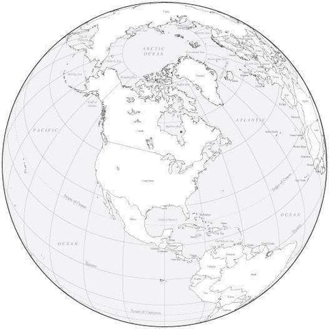 Black & White Globe over North America Map with Countries