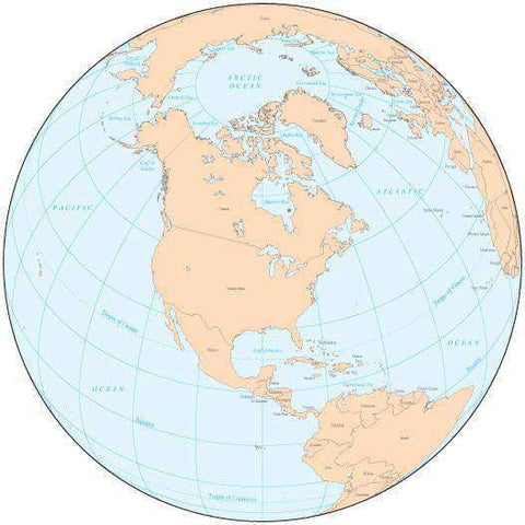 Single Color Globe over North America Map with Countries