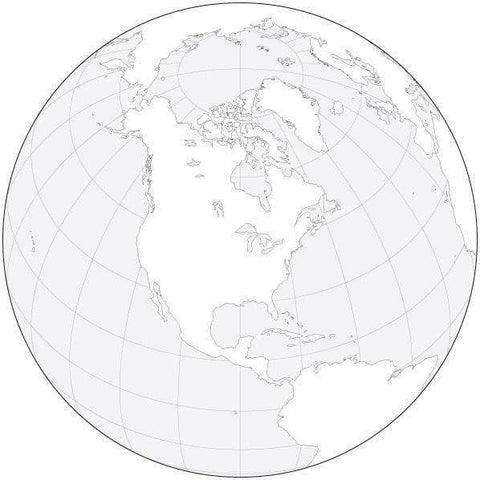 Globe over North America Black & White Blank Outline Map