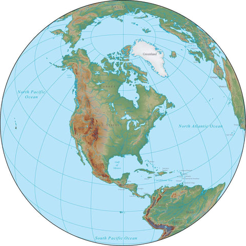 Globe over North America Terrain map in Adobe Illustrator vector format with Photoshop terrain image GL-NAM-952976