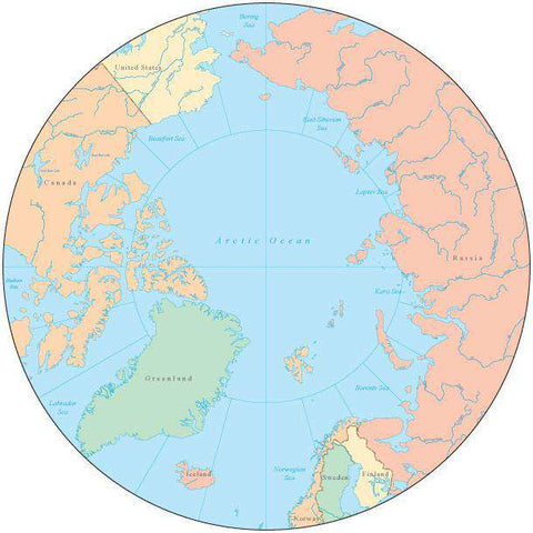 Globe over North Pole Map with Countries and Water Features