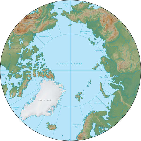 Globe North Pole Terrain map in Adobe Illustrator vector format with Photoshop terrain image GL-NPL-952878