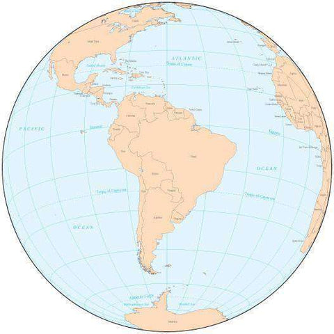Single Color Globe over South America Map with Countries