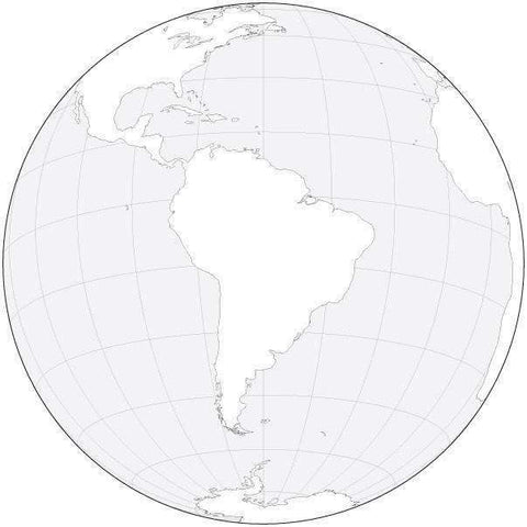 Globe over South America Black & White Blank Outline Map