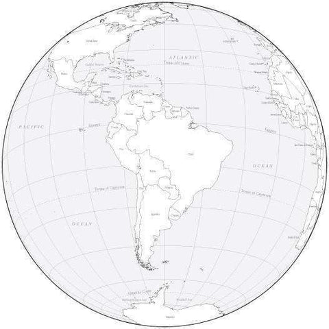 Black & White Globe over South America Map with Countries