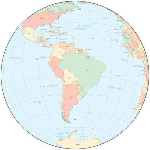 Multi Color Globe over South America Map with Countries