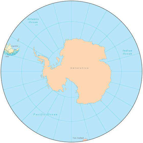 Globe over South Pole Map with Countries and Water Features