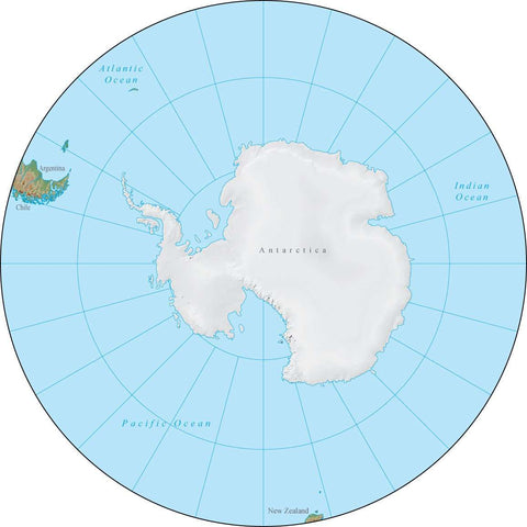 Globe South Pole Terrain map in Adobe Illustrator vector format with Photoshop terrain image GL-SPL-952966