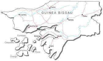 Guinea Bissau Black & White Map with Capital, Major Cities, Roads, and Water Features