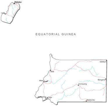 Equatorial Guinea Black & White Map with Capital, Major Cities, Roads, and Water Features