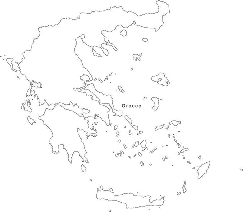 Digital Black & White Greece map in Adobe Illustrator EPS vector format