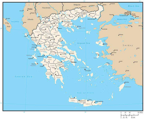 Greece Digital Vector Map with Prefecture Areas and Capitals