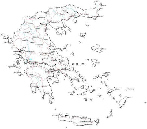 Greece Black & White Map with Capital, Major Cities, Roads, and Water Features