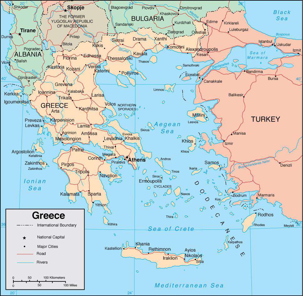 Country Of Greece Map.Greece Page Size Digital Map
