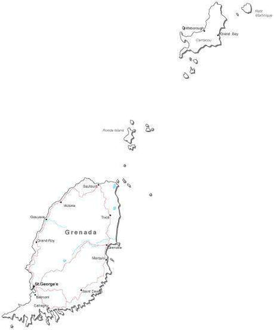 Grenada Black & White Map with Capital, Major Cities, Roads, and Water Features