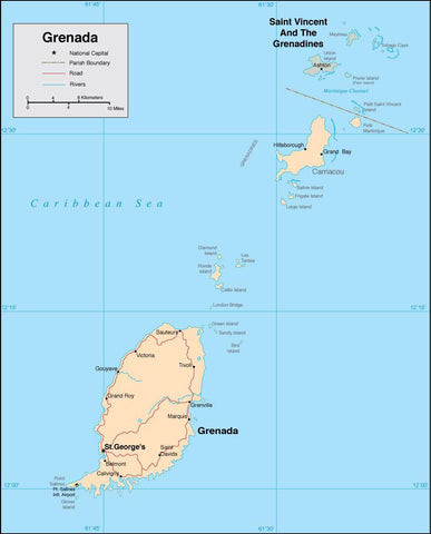 Digital Grenada map in Adobe Illustrator vector format