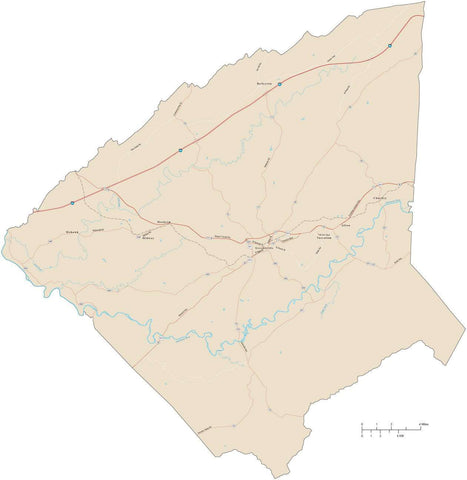 Greene County Tennessee Map with Arterial and Major Road Network