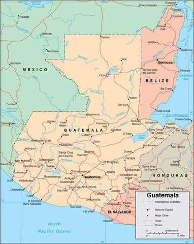 Digital Guatemala map in Adobe Illustrator vector format