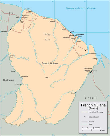 Digital French Guiana map in Adobe Illustrator vector format