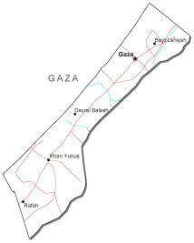 Gaza Black & White Map with Capital, Major Cities, Roads, and Water Features