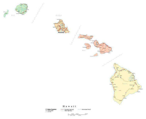 Hawaii State Map - Multi-Color Cut-Out Style - with Counties, Cities, County Seats, Major Roads, Rivers and Lakes