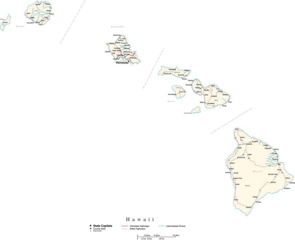 Hawaii With Capital Counties Cities Roads Rivers Lakes Map