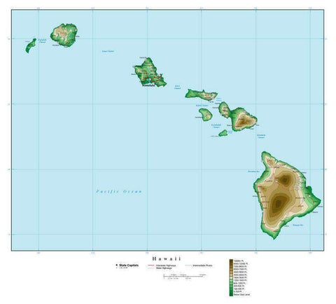 Hawaii Map with Contour Background